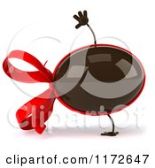 Clipart Of A 3d Cartwheeling Chocolate Easter Egg Mascot With A Red Bow Royalty Free CGI Illustration