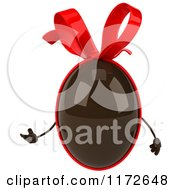 Clipart Of A 3d Presenting Chocolate Easter Egg Mascot With A Red Bow Royalty Free CGI Illustration