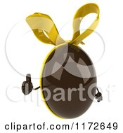 Clipart Of A 3d Thumb Up Chocolate Easter Egg Mascot With A Yellow Bow Royalty Free CGI Illustration