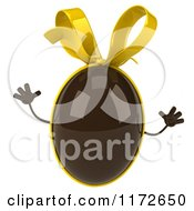 Clipart Of A 3d Jumping Chocolate Easter Egg Mascot With A Yellow Bow Royalty Free CGI Illustration