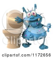 Clipart Of A 3d Blue Germ Holding A Thumb Down By A Toilet Royalty Free CGI Illustration