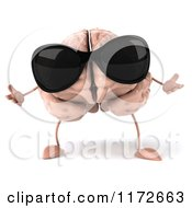 3d Brain Mascot Wearing Sunglasses And Shrugging