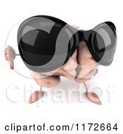3d Brain Mascot Wearing Sunglasses And Holding A Thumb Down