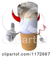 Clipart Of A 3d Devil Tobacco Cigarette Character Holding A Thumb Up Royalty Free CGI Illustration by Julos