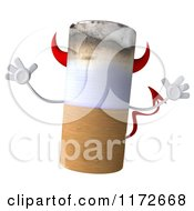 Clipart Of A 3d Devil Tobacco Cigarette Character Jumping Royalty Free CGI Illustration by Julos