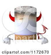 Clipart Of A 3d Devil Tobacco Cigarette Character Over A Sign Royalty Free CGI Illustration by Julos