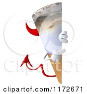 Clipart Of A 3d Devil Tobacco Cigarette Character Pointing To And Peeking Around A Sign Royalty Free CGI Illustration by Julos