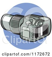 Cartoon Of A DSLR Digital Camera Over A Blue Circle Royalty Free Vector Clipart