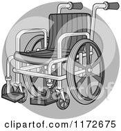 Clipart Of A Medical Wheelchair Over A Gray Circle Royalty Free Vector Illustration