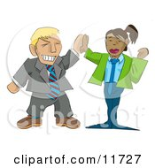 Excited Businessman Giving A Businesswoman A High Five Clipart Illustration