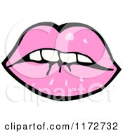 Cartoon Of A Nervous Pink Mouth Royalty Free Vector Clipart