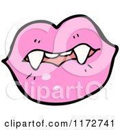 Cartoon Of A Pink Lips And Vampire Teeth Royalty Free Vector Clipart by lineartestpilot