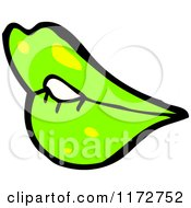 Cartoon Of Green Lips Royalty Free Vector Clipart by lineartestpilot