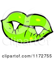 Cartoon Of Green Lips And A Vampire Teeth Royalty Free Vector Clipart by lineartestpilot