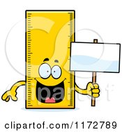 Cartoon Of A Happy Ruler Mascot Holding A Sign Royalty Free Vector Clipart