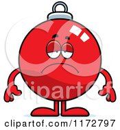 Cartoon Of A Depressed Christmas Ornament Mascot Royalty Free Vector Clipart by Cory Thoman