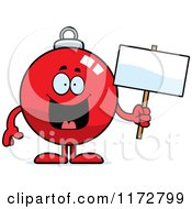 Cartoon Of A Happy Christmas Ornament Mascot Holding A Sign Royalty Free Vector Clipart by Cory Thoman