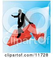 Successful Businessman Riding On A Red Arrow As Revenue Increases Clipart Illustration
