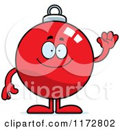 Cartoon Of A Waving Christmas Ornament Mascot Royalty Free Vector Clipart by Cory Thoman