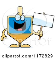 Cartoon Of A Happy Dreidel Mascot Holding A Sign Royalty Free Vector Clipart by Cory Thoman