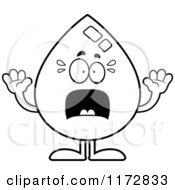Cartoon Clipart Of A Screaming Water Drop Mascot Vector Outlined Coloring Page