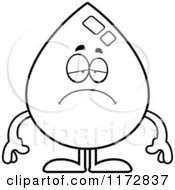 Cartoon Clipart Of A Depressed Water Drop Mascot Vector Outlined Coloring Page