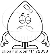 Cartoon Clipart Of A Sick Water Drop Mascot Vector Outlined Coloring Page