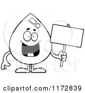Cartoon Clipart Of A Happy Water Drop Mascot With A Sign Vector Outlined Coloring Page