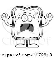 Cartoon Clipart Of A Screaming Toast And Jam Mascot Vector Outlined Coloring Page by Cory Thoman