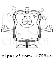 Cartoon Clipart Of A Loving Toast And Jam Mascot Vector Outlined Coloring Page by Cory Thoman