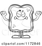 Cartoon Clipart Of A Mad Toast And Jam Mascot Vector Outlined Coloring Page by Cory Thoman