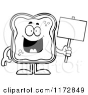 Cartoon Clipart Of A Happy Toast And Jam Mascot Holding A Sign Vector Outlined Coloring Page by Cory Thoman