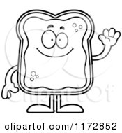Cartoon Clipart Of A Waving Toast And Jam Mascot Vector Outlined Coloring Page by Cory Thoman
