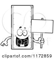Cartoon Clipart Of A Happy Ruler Mascot Holding A Sign Vector Outlined Coloring Page