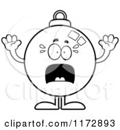 Cartoon Clipart Of A Screaming Christmas Ornament Mascot Vector Outlined Coloring Page by Cory Thoman