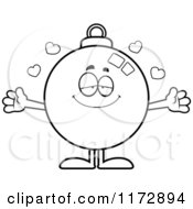Cartoon Clipart Of A Loving Christmas Ornament Mascot Vector Outlined Coloring Page by Cory Thoman
