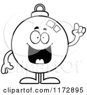 Cartoon Clipart Of A Smart Christmas Ornament Mascot With An Idea Vector Outlined Coloring Page by Cory Thoman