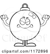 Cartoon Clipart Of A Mad Christmas Ornament Mascot Vector Outlined Coloring Page by Cory Thoman