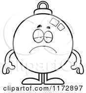 Cartoon Clipart Of A Depressed Christmas Ornament Mascot Vector Outlined Coloring Page by Cory Thoman