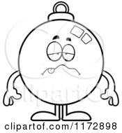 Cartoon Clipart Of A Sick Christmas Ornament Mascot Vector Outlined Coloring Page by Cory Thoman