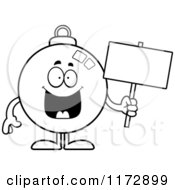Cartoon Clipart Of A Happy Christmas Ornament Mascot Holding A Sign Vector Outlined Coloring Page by Cory Thoman