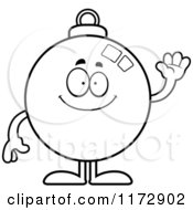 Cartoon Clipart Of A Waving Christmas Ornament Mascot Vector Outlined Coloring Page by Cory Thoman