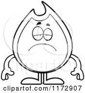 Cartoon Clipart Of A Depressed Fire Mascot Vector Outlined Coloring Page by Cory Thoman
