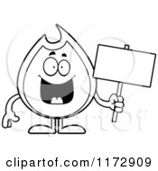 Cartoon Clipart Of A Hapy Fire Mascot Holding A Sign Vector Outlined Coloring Page by Cory Thoman