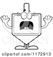 Cartoon Clipart Of A Screaming Dreidel Mascot Vector Outlined Coloring Page