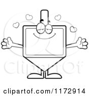 Cartoon Clipart Of A Loving Dreidel Mascot Wanting A Hug Vector Outlined Coloring Page