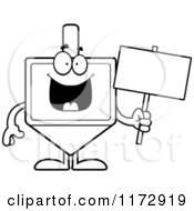 Cartoon Clipart Of A Happy Dreidel Mascot Holding A Sign Vector Outlined Coloring Page by Cory Thoman