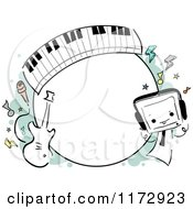 Cartoon Of A Round Music Frame Royalty Free Vector Clipart