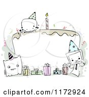 Cartoon Of A Monster And Birthday Cake Frame Royalty Free Vector Clipart