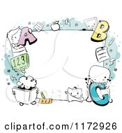Cartoon Of A Monster Educational Frame Royalty Free Vector Clipart